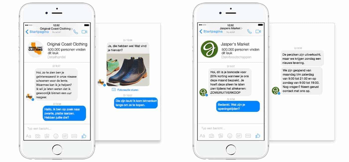 Facebook Messenger landingspagina