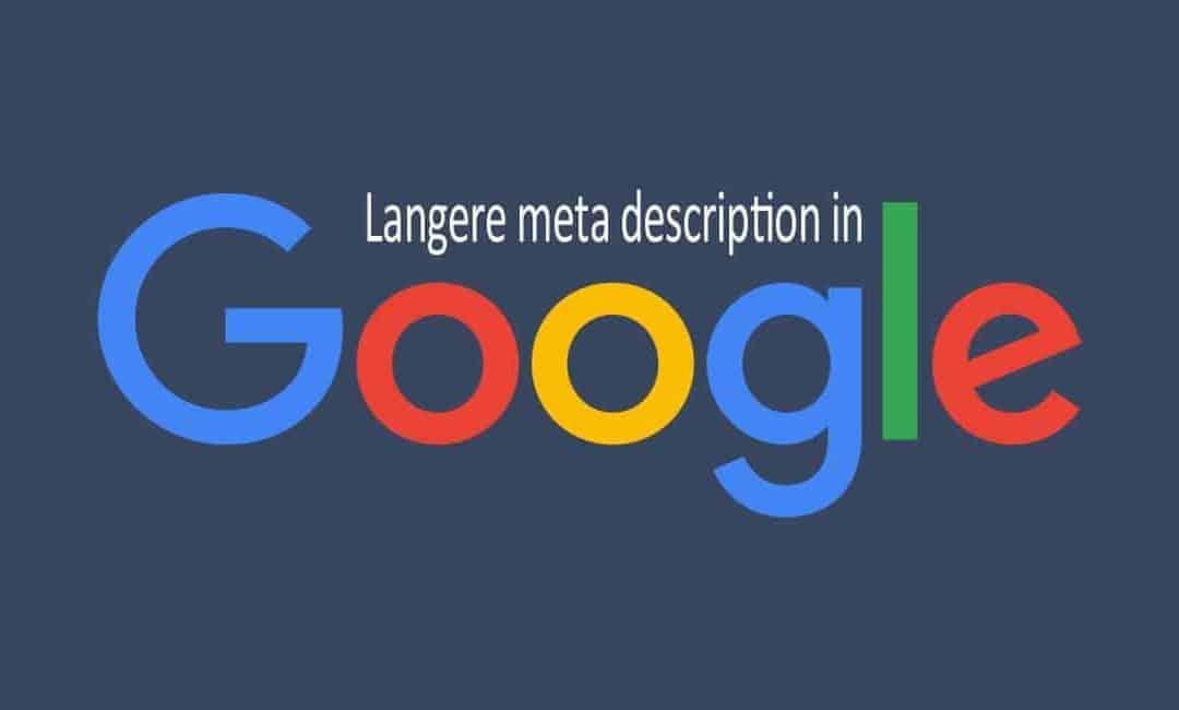 Google verlengt meta descriptions