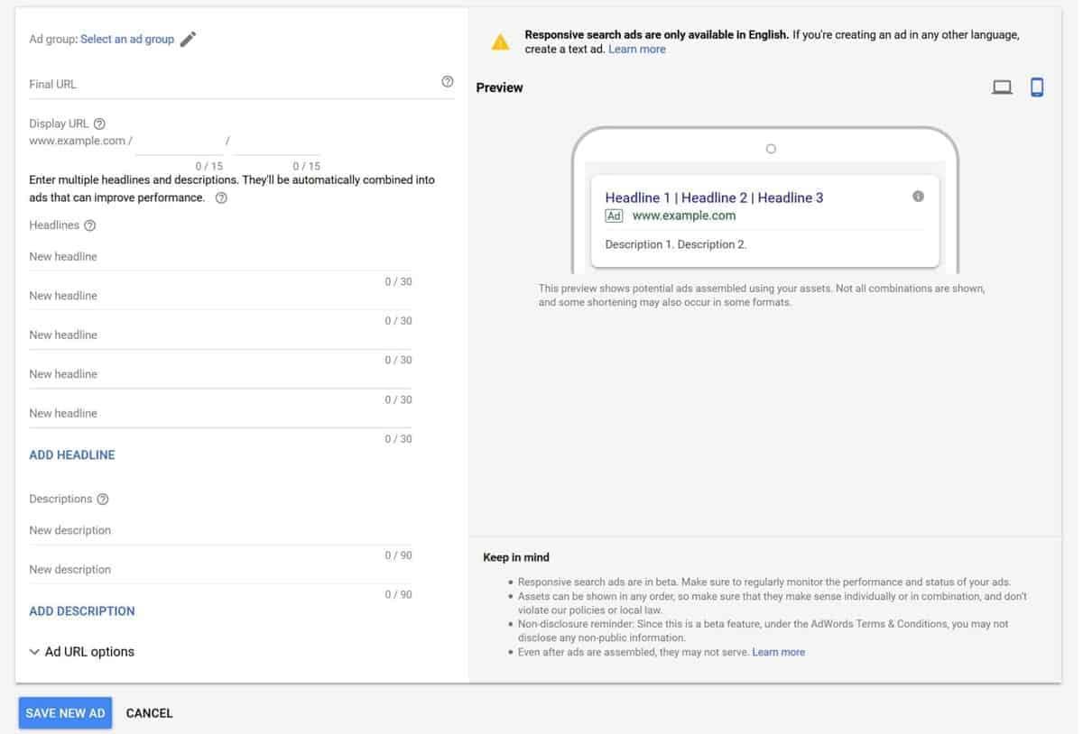 Google Responsive Search ad